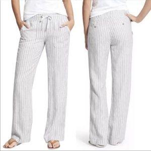 Athleta Striped Linen Herringbone Pants